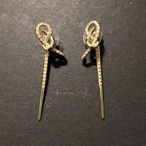 Jewelry - Gold plated cz twist ear jacket earrings